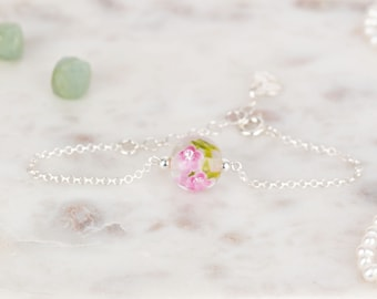 Bracelet in glass and sterling silver - Fuchsia flower bracelet - Made to Order