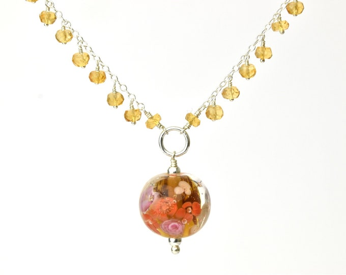 Statement Necklace in citrine, glass and silver - Amber, pink and gold floral necklace - Orlena capsule, Autumn 2019 Collection