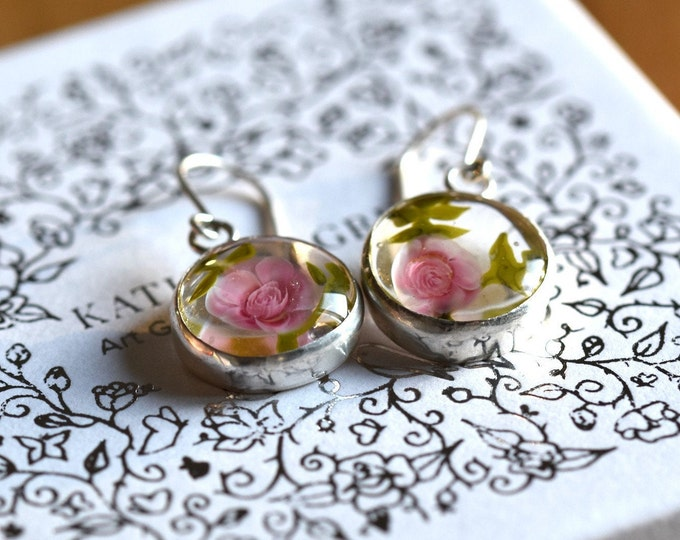 Juliette - Rose Statement Earrings - earrings in glass and sterling silver - Floral jewelry - Gift for women