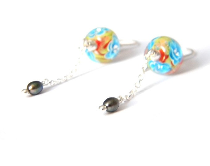 Poppy Sakura Long Earrings - Lampwork Glass and Sterling Silver
