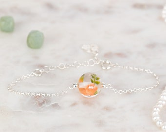 Bracelet in glass and sterling silver - Apricot flower bracelet - Made to Order
