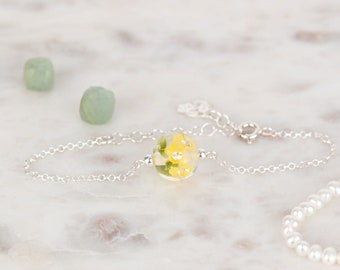 Bracelet in glass and sterling silver - Buttercup flower bracelet - Made to Order