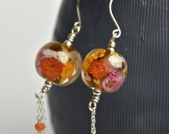 Amber, pink and orange Statement Earrings - Floral glass and sterling silver earrings - Orlena Autumn 2019 Collection