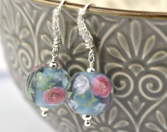 Art Glass Statement Earrings - Labradorite, Glass and Sterling Silver Earrings - Penelope Collection