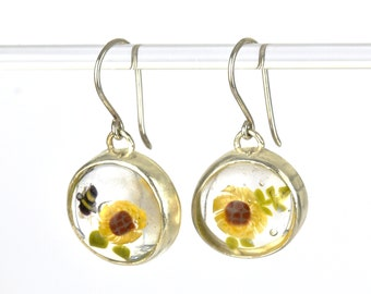 Solène earrings, in glass and sterling silver