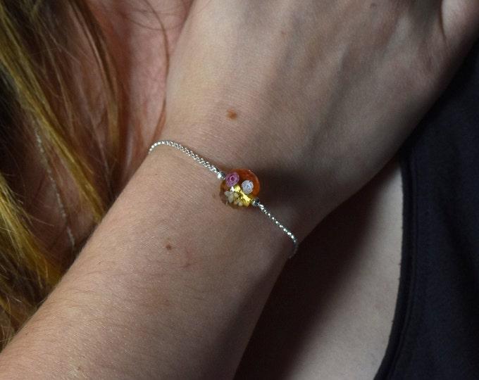 Bracelet with a floral and 24k gold leaf glass bead - Sterling Silver and Glass bracelet - Bracelet gift