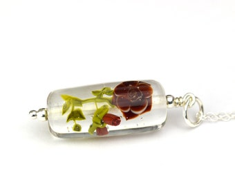 Aurore - Necklace in glass and sterling silver 45cm - Floral jewelry - Garnet roses