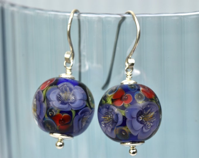 Apolline - Red and blue earrings in glass and sterling silver - Floral jewelry - Gift for women