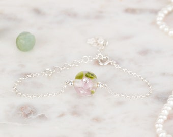 Bracelet in glass and sterling silver - Lilac flower bracelet - Made to Order