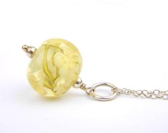 Art Glass Pendant - Medium Honey Art Glass Bead Sterling Silver Pendant - Classic Collection
