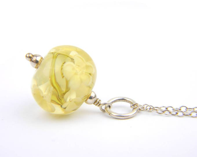 Art Glass Pendant - Medium Honey Art Glass Bead Sterling Silver Pendant - Classic Collection