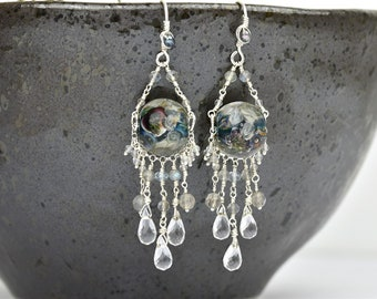 Art Glass Statement Earrings - Art Glass Bead Sterling Silver Earrings - Black Helleborus Collection