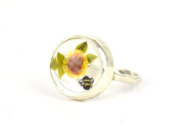 Solène ring, in glass and sterling silver