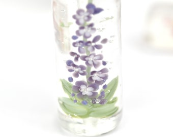 Lampwork Glass Beads - Purple Delphinium bead 43mm - Tall Flowers Collection