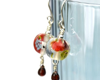 Marianne - Earrings in glass and sterling silver - Floral jewelry - Gift for women - Red roses