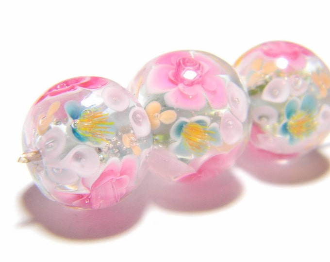 Lampwork Glass Beads - Slate grey, pure silver and pink flowers bead 17mm-19mm - Winter Spells Garden Collection