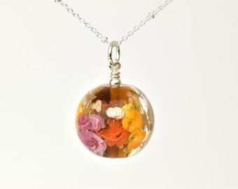 Long Statement Necklace in glass and silver - Amber, pink and gold floral necklace - Orlena capsule, Autumn 2019 Collection