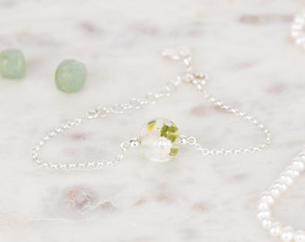 Bracelet in glass and sterling silver - Off White flower bracelet - Made to Order