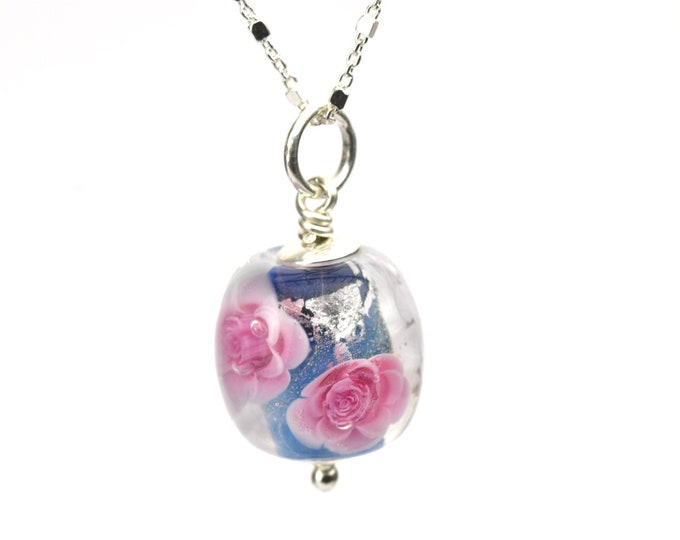 Elise - Long Necklace in glass and sterling silver 50cm - Floral jewelry - Pink roses