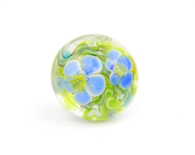 Art Glass Ring - Prairie Art Glass Bead Sterling Silver Ring - Classic Collection
