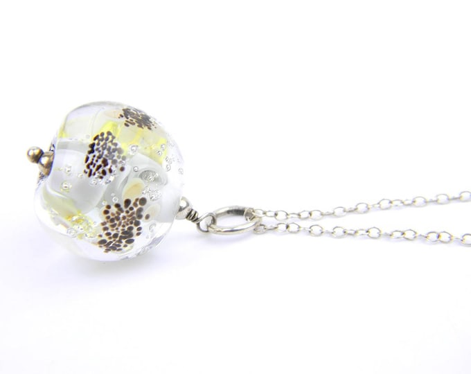 Art Glass Pendant - Large Silversmiths Art Glass Bead Sterling Silver Pendant - Classic Collection
