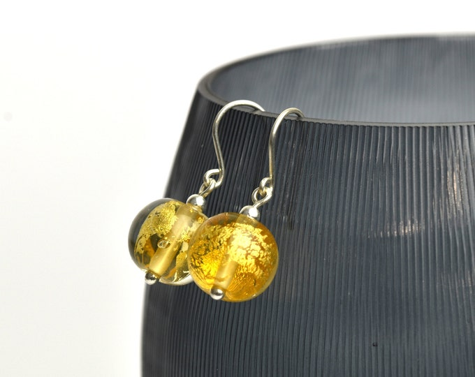 24k Gold leaf and Light Amber Glass Earrings - Sterling Silver and Glass Earrings - Gift earrings