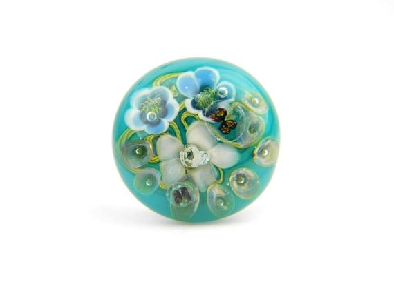 Art Glass Ring - Medium Rainforest Art Glass Bead Sterling Silver Ring - Classic Collection
