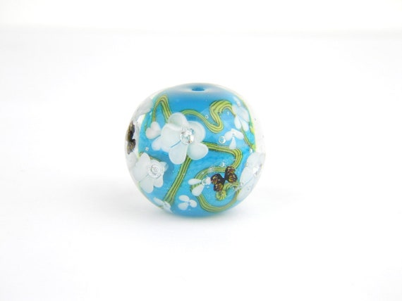 Lampwork Glass Beads - Teal, white flowers bead 24mm - Secret Pond Collection