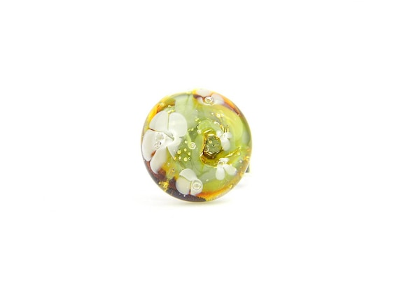 Art Glass Ring - Olive Art Glass Bead Sterling Silver Ring - Classic Collection