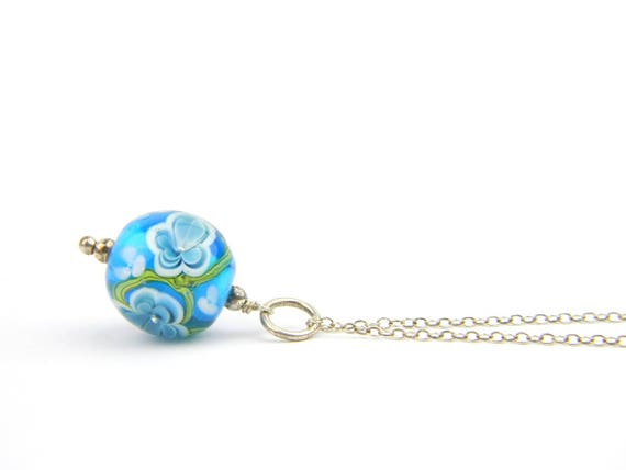 Art Glass Pendant - Medium Aqua and Ink Art Glass Bead Sterling Silver Pendant - Classic Collection