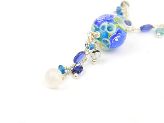 Art Glass Long Necklace - Anushna Art Glass Bead Sterling Silver Long Necklace - Glamour Collection