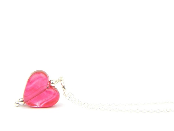 Art Glass Pendant - Small Cranberry Heart Glass Bead Sterling Silver Pendant - Classic Collection