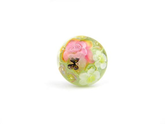 Art Glass Ring - Small Peacock Garden Art Glass Bead Sterling Silver Ring - Classic Collection