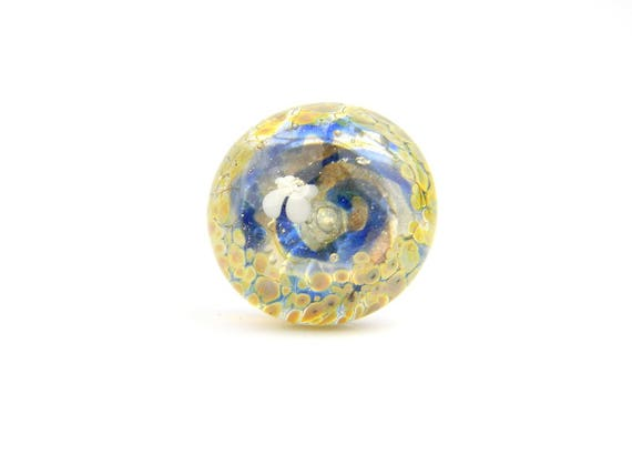 Art Glass Ring - Whirlwind Art Glass Bead Sterling Silver Ring - Classic Collection