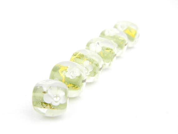 Lampwork Glass Beads - Soft green, gold and white flowers bead 15mm - Eelgrass Collection