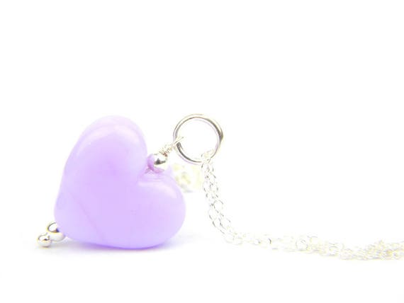 Art Glass Pendant - Medium Rapunzel Heart Glass Bead Sterling Silver Pendant - Classic Collection