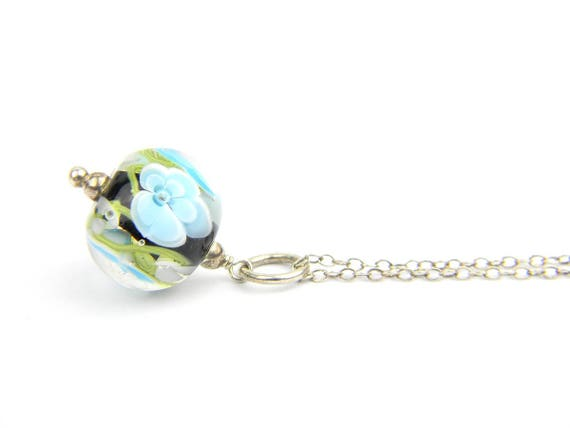 Art Glass Pendant - Medium Aqua and Black Art Glass Bead Sterling Silver Pendant - Classic Collection