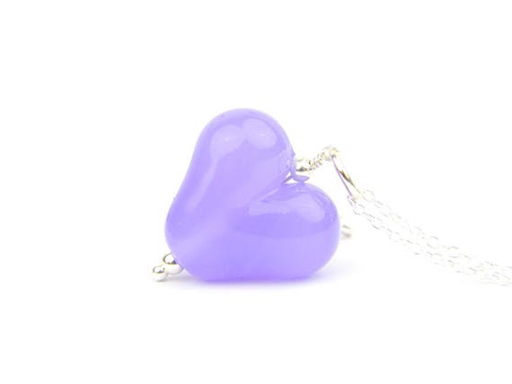 Art Glass Pendant - Crocus Puffy Heart Glass Bead Sterling Silver Pendant - Classic Collection