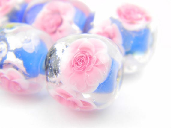 Lampwork Glass Beads - Dark blue, Silver Leaf, Bright Pink Roses bead 15mm - Prussian Roses Collection