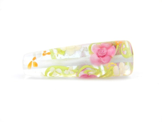 Lampwork Glass Beads - English garden flower cone bead - The Paradise Collection