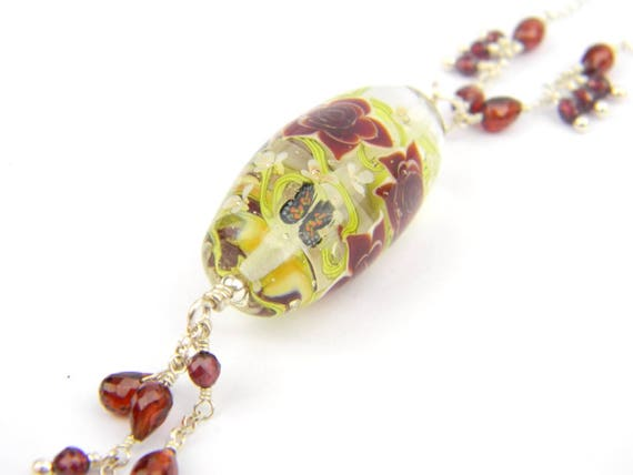 Art Glass Long Necklace - High Garden Art Glass Bead Sterling Silver Long Necklace - Glamour Collection
