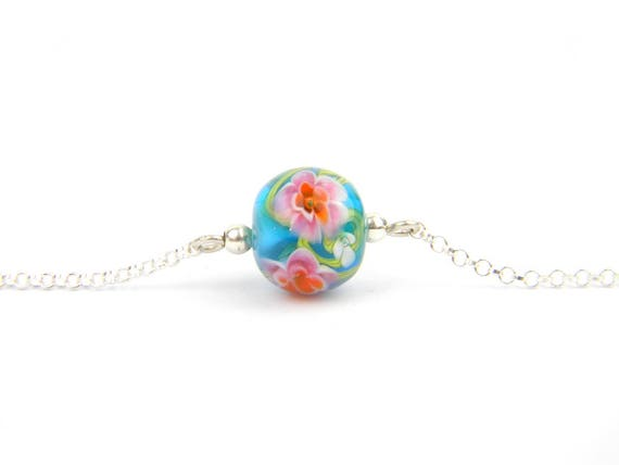 Art Glass Fine Bracelet - Tropical Art Glass Bead Sterling Silver Fine Bracelet - Classic Collection