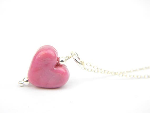 Art Glass Pendant - Medium Raspberry Heart Glass Bead Sterling Silver Pendant - Classic Collection