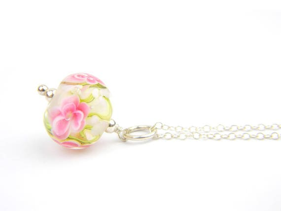 Art Glass Pendant - Medium Opal White and Pink Art Glass Bead Sterling Silver Pendant - Classic Collection