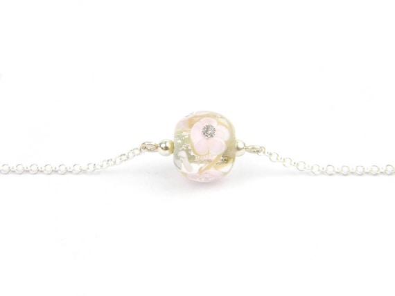 Art Glass Fine Bracelet - Sakura Blossoms Art Glass Bead Sterling Silver Fine Bracelet - Classic Collection
