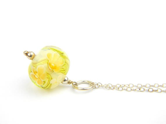 Art Glass Pendant - Medium Opal White and Amber Art Glass Bead Sterling Silver Pendant - Classic Collection