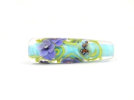 Lampwork Glass Beads - English garden pansies flower cone bead - Golden Afternoon Collection