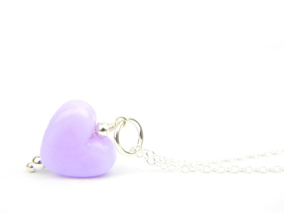 Art Glass Pendant - Small Rapunzel Heart Glass Bead Sterling Silver Pendant - Classic Collection