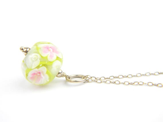 Art Glass Pendant - Medium Pale Green and Pink Art Glass Bead Sterling Silver Pendant - Classic Collection