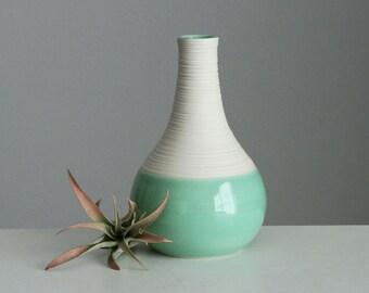 Mint Pottery Vase - Short Groove Vase in Mint Green - Ceramic Porcelain Bud Vase